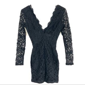 TOBI Lace Long Sleeve Mini Dress Deep V Sz Small